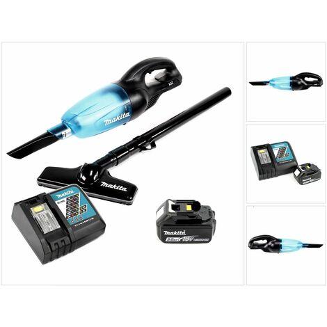 Makita DCL 180 B 18V Li-Ion Aspirateur compact sans fil Noir + 1x Batterie BL 1850 5,0 Ah + Chargeur rapide DC 18 RC