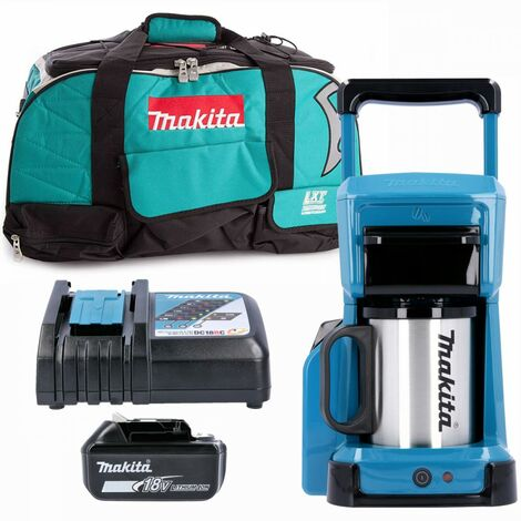 Makita DCM501 10.8V/18V CXT/LXT Coffee Maker With 1 x 6.0Ah Battery, Charger & Bag