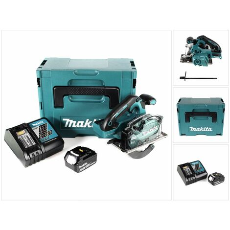 Makita DCS 553 RT1J Scie circulaire sans fil 18V 150 mm Brushless + 1x Batterie 5,0Ah + Chargeur + Coffret Makpac