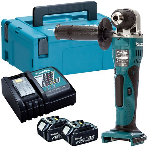 Makita DDA351Z 18V LXT Angle Drill with 2 x 5.0Ah Batteries & Charger in Case:18V