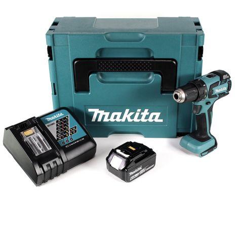 Makita DDF 459 RG1J Taladro atornillador a batería 18V en maletín Makpac 2 + 1x Batería BL1860 6,0 Ah + Cargador DC 18 RC