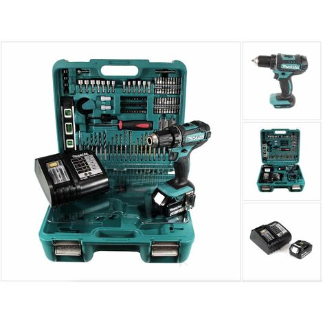 Makita DDF 482 STTK Taladro atornillador a batería 18V en maletín con 101 accesorios + 1x Batería BL1850 5,0 Ah + Cargador DC 18 SD