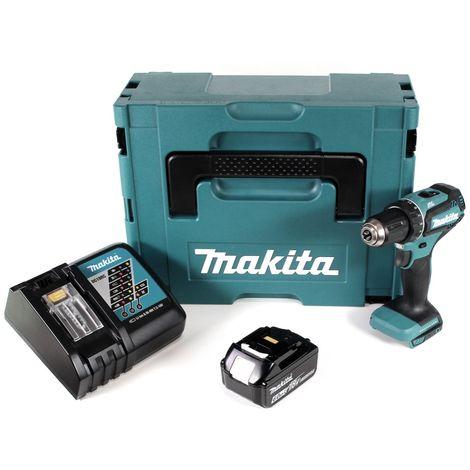 Makita DDF 485 RG1J Taladro atornillador a batería 18V en maletín Makpac 2 + 1x Batería BL1860 6,0 Ah + Cargador DC 18 RC