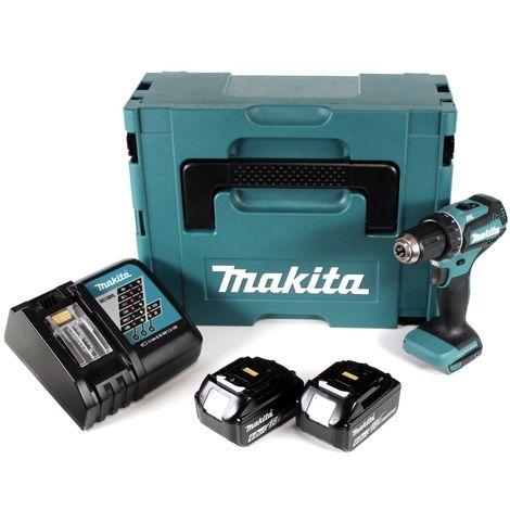 Makita DDF 485 RGJ Taladro atornillador a batería 18V en maletín Makpac 2 + 2x Batería BL1860 6,0 Ah + Cargador DC 18 RC