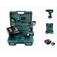 Makita DDF 485 STTK Taladro atornillador a batería 18V en maletín de transporte con 101 accesorios + 1x Batería BL1850 5,0 Ah + Cargador DC18SD
