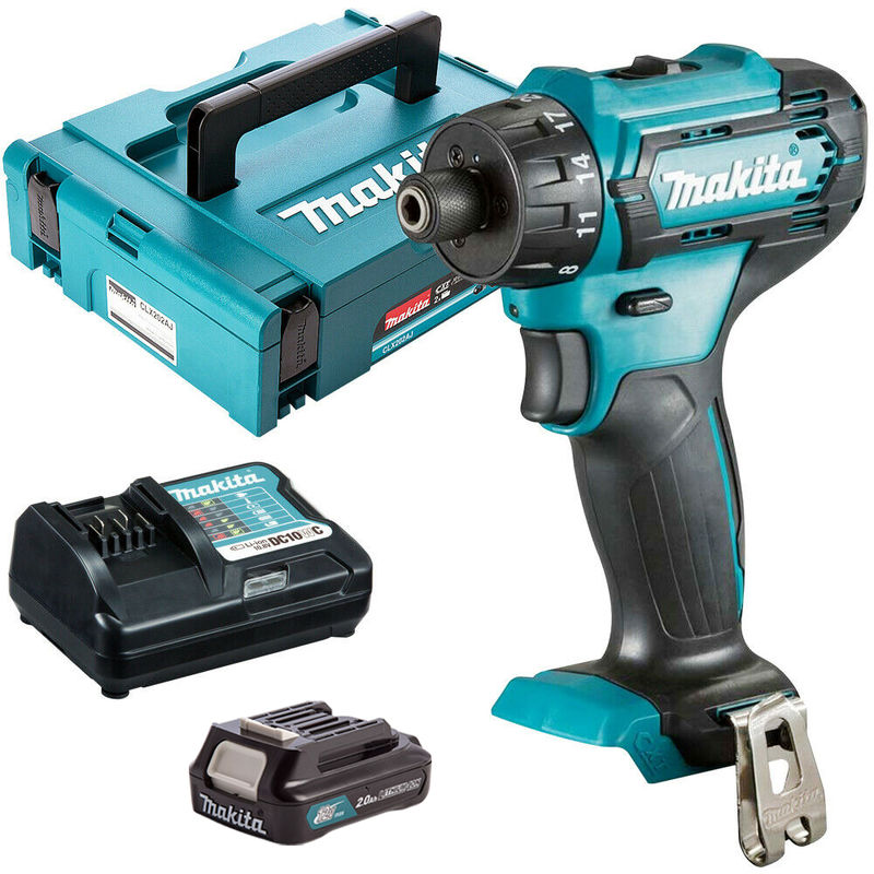 """Makita DF033DZ 12V Max CXT 1/4"""" Hex Drill Driver with 1 x 2.0Ah Battery & Charger in Case:10.8V"""
