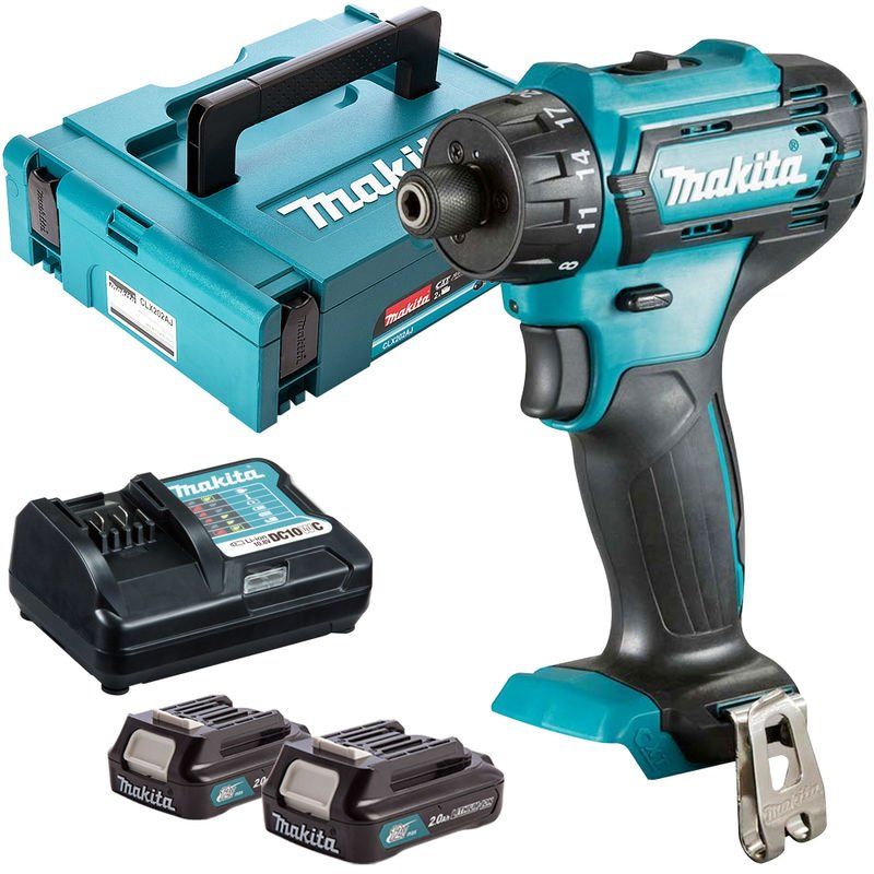Makita DF033DZ 12V Max CXT 1/4' Hex Drill Driver with 2 x 2.0Ah Batteries & Charger in Case:10.8V