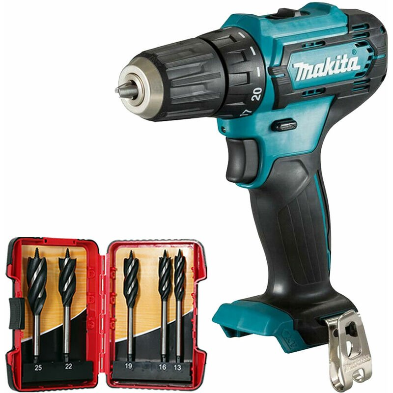 Makita DF333DZ 12V Max CXT 2 Gears Drill Driver with 5 Piece Auger Drill Bit Set:12V