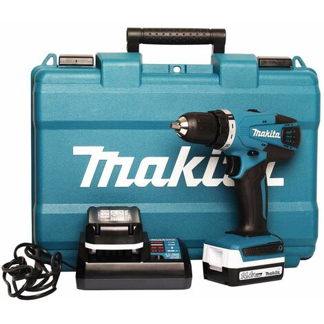 Makita DF347DWE 14,4V Li-Ion batería Taladro atornillador (set con 2x 1,3Ah baterías) en maletín