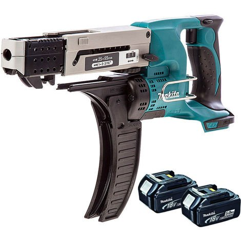 Makita DFR550Z 18v LXT Cordless Auto Feed Screwdriver With 2 x 5.0Ah Battery:18V