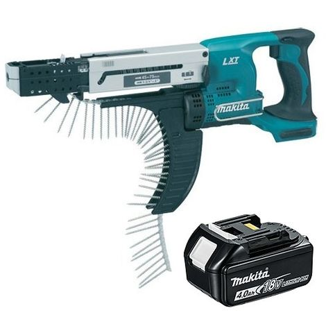Makita DFR750 18V LXT 75mm Auto Feed Screwdriver With 4.0Ah Battery