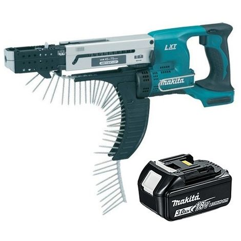Makita DFR750Z 18V 75mm Auto Feed Screwdriver with 1 x 3.0Ah Battery