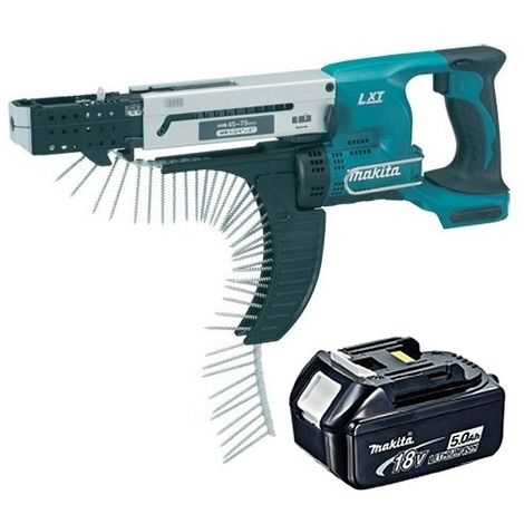 Makita DFR750Z 18V 75mm Auto Feed Screwdriver with 1 x 5.0Ah Battery