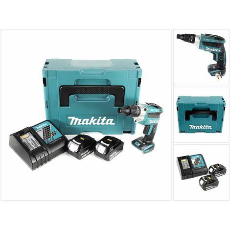 Makita DFS 251 RFJ 18 V Li-Ion Visseuses bardage Brushless + Coffret Makpac + 2x Batteries BL1830 3,0 Ah + Chargeur DC18RC