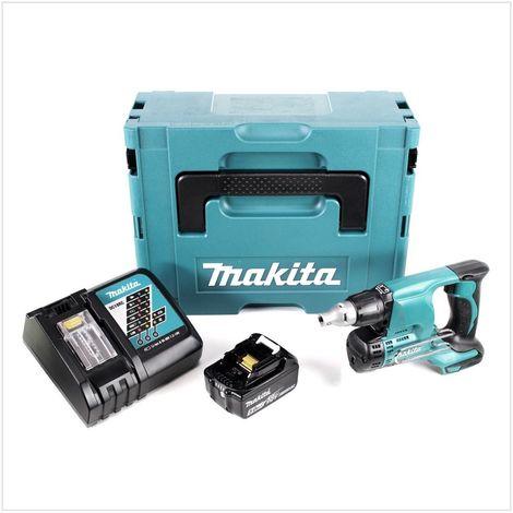 Makita DFS 450 RT1J 18 V Visseuse plaque de plâtre sans fil avec boîtier Makpac + 1x Batterie BL 1850 5,0 Ah + 1x Chargeur rapide DC 18 RC