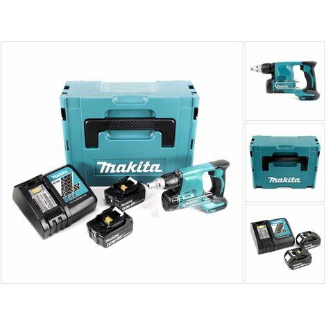 Makita DFS 450 RTJ Atornillador para montaje rápido a batería 18V en maletín Makpac 2 + 2x Batería BL 1850 5,0 Ah + Cargador DC 18 RC