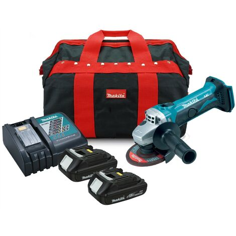 Makita DGA452 18v Cordless Li-Ion Angle Grinder + 2 x 1.5ah Batts, Charger + Bag