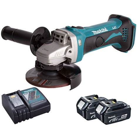 Makita DGA452Z 18V 115mm Angle Grinder + 2 x 4.0Ah Battery & Charger