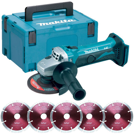 """Makita DGA452Z 18V 4.5"""" Angle Grinder with 5 x 115mm Segmented Blade in Case"""