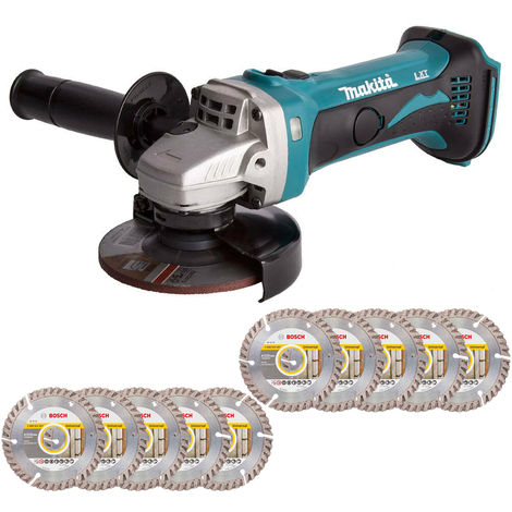 Makita DGA452Z 18V LXT 115mm Angle Grinder with 10 x 115mm Diamond Cutting Discs