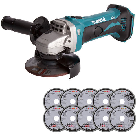 Makita DGA452Z 18V LXT 115mm Angle Grinder with 10 x Metal Cutting Discs:18V