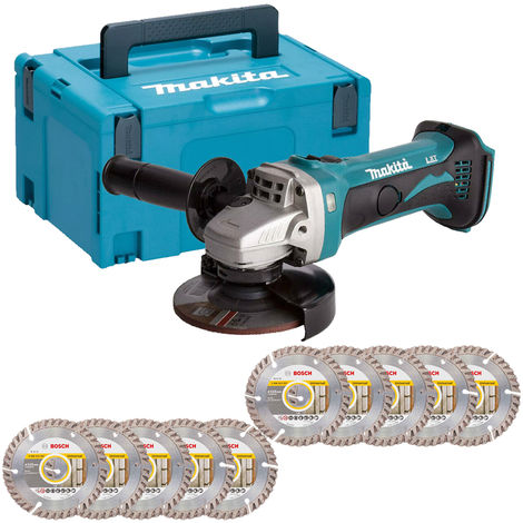 Makita DGA452Z 18V LXT 115mm Angle Grinder with Case & 10 x Diamond Cutting Disc