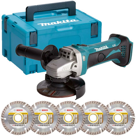 Makita DGA452Z 18V LXT 115mm Angle Grinder with Case & 5 x Diamond Cutting Discs