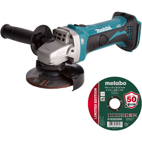 """Makita DGA452Z 18V LXT 4.5"""" Angle Grinder Body with 1 x 115mm Metal Cutting Disc"""