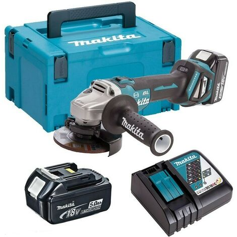 Makita DGA463RTJ 18v Brushless 115mm Angle Grinder with 2x5ah Batteries
