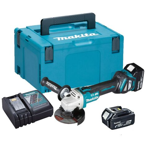 Makita DGA463RTJ 18v Cordless Brushless 115mm Angle Grinder 2 x Batteries & Case