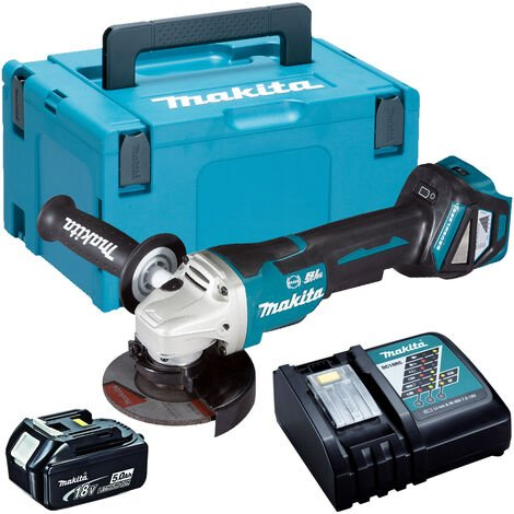 Makita DGA463Z 18V Brushless 115mm Angle Grinder with 1 x 5.0Ah Battery & Charger in Case