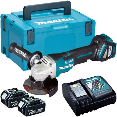 Makita DGA463Z 18V Brushless 115mm Angle Grinder with 2 x 5.0Ah Batteries & Charger in Case