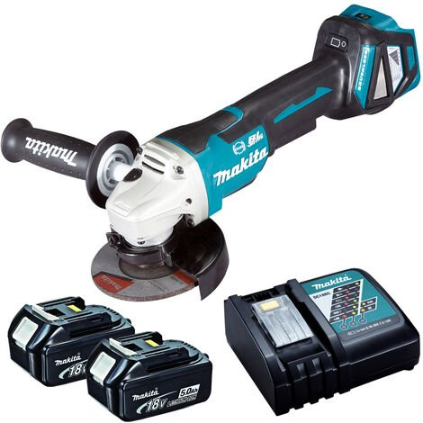 Makita DGA463Z 18V Brushless 115mm Angle Grinder with 2 x 5.0Ah Battery & Charger