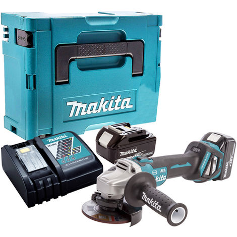 Makita DGA463Z Brushless Angle Grinder with 2 x 4.0Ah Battery & Charger in Case