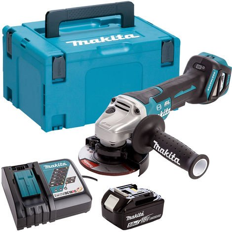Makita DGA467Z 18V Brushless 115mm Angle Grinder with 1 x 5.0Ah Battery & Charger in Case:18V
