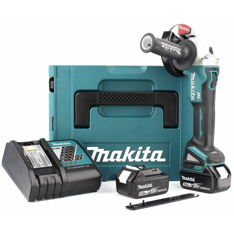 Makita DGA504RTJ Meuleuse d'angle à batterie 18V Li-Ion set (2x batterie 5.0Ah) dans MAKPAC - 125mm - moteur sans charbon