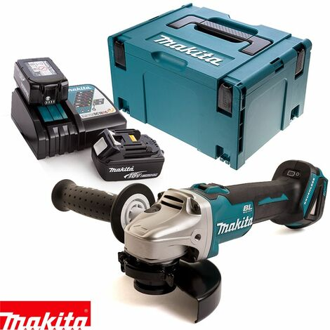 Makita DGA504Z 18V Angle Grinder With 2 x 4.0Ah Batteries, Charger & Case
