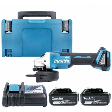 Makita DGA504Z 18V Angle Grinder With 2 x 5.0Ah Batteries, Charger & Case