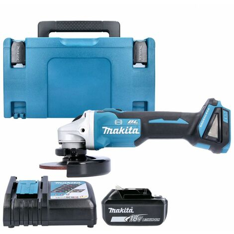 Makita DGA506 18V Brushless Angle Grinder With 1 x 4.0Ah Battery, Charger & Case