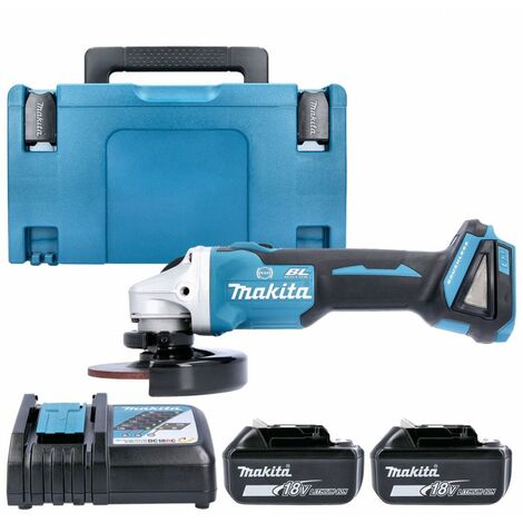 Makita DGA506 18V Brushless Angle Grinder With 2 x 3.0Ah Batteries, Charger & Case