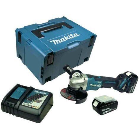 Makita DGA508RTJ Meuleuse d'angle à batteries 18V Li-Ion set (2x batterie 5,0Ah) dans MAKPAC - softstart - moteur sans charbon
