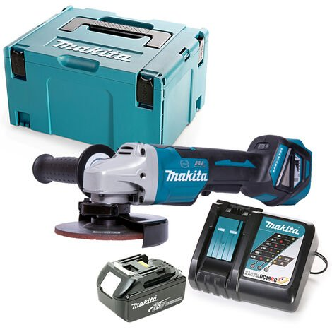 Makita DGA517 18V Angle Grinder 125mm With 1 x 5.0Ah Battery, Charger & Case