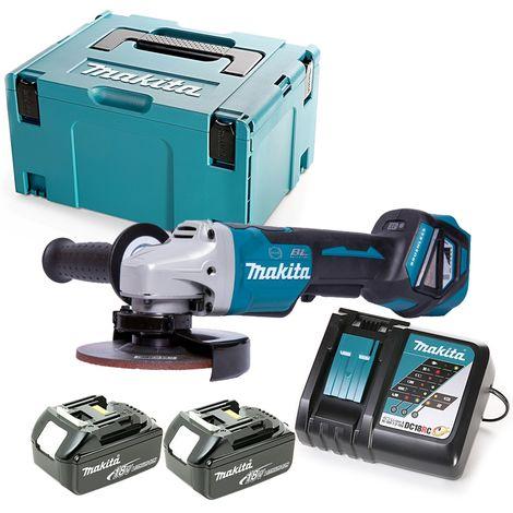 Makita DGA517 18V Angle Grinder 125mm With 2 x 4Ah Batteries, Charger & Case