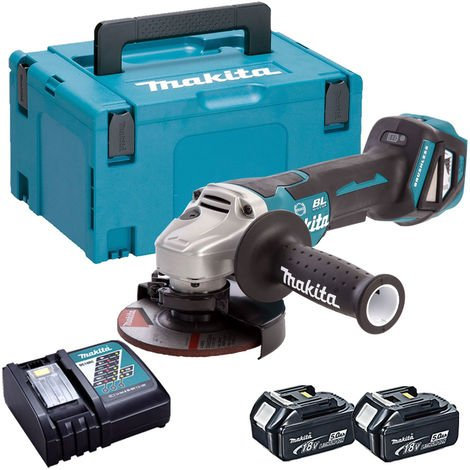 Makita DGA517Z 18V Brushless 125mm Angle Grinder with 2 x 5.0Ah Batteries & Charger in Case