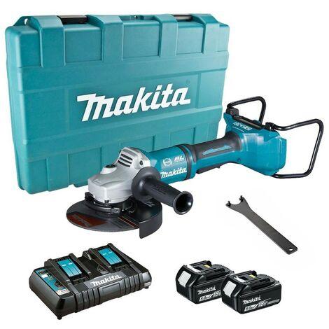 "main image of ""Makita DGA700PT2 18v / 36v Cordless Brushless 180mm 7"" Angle Grinder - 2 X 5.0ah"""