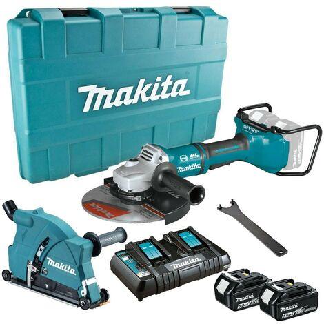 """Makita DGA900PT2 18v / 36v Cordless Brushless 9"""" Angle Grinder + Dust Extractor"""