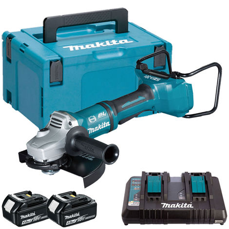 Makita DGA900Z 36V Brushless Angle Grinder with 2 x 4.0Ah Battery & Charger in Case