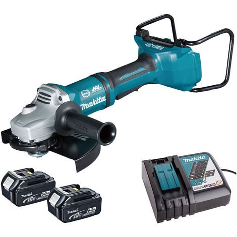 Makita DGA900Z 36V Brushless Angle Grinder with 2 x 5.0Ah Batteries & Charger