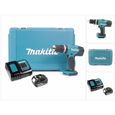 Makita DHP 453 RF1 Taladro combinado de impacto inalámbrico 18 V en maletín de transporte + 1x Batería BL1830 + Cargador DC 18 SD