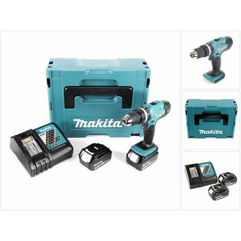 Makita DHP 453 RFJ Taladro combinado de impacto inalámbrico 18 V en Makpac 2 + 2x Batería BL1830 + Cargador DC 18 RC